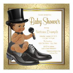 Black Gold Ethnic Little Man Baby Shower