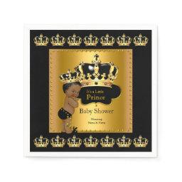 Black Gold Prince Crown Baby Shower Ethnic Napkin