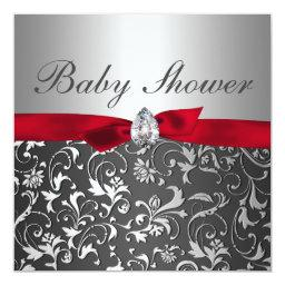 Black Red Ribbon Silver Flourish