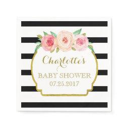 Black Stripes Gold Pink Floral Baby Shower Napkin