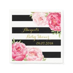 Black Stripes Pink Floral  Napkins