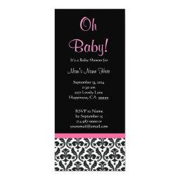 Black White Pink Feathered Damask