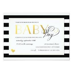 Black & White Stripe Baby Boy Shower Gold Accents