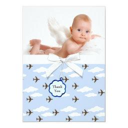 Blue Airplanes Baby Boy Photo Thank You