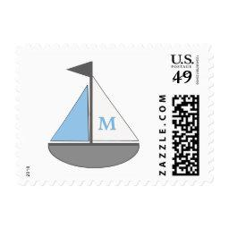 Blue and Gray Sailboat monogram boy baby shower Postage