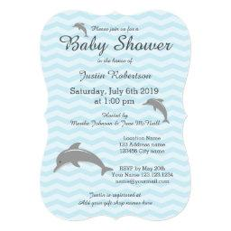 Blue and grey dolphin baby shower