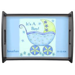 Blue Baby Buggy Carriage Customized Serving Tray
