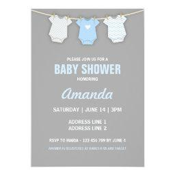 Blue Baby Shower Invitation, Clothesline Theme