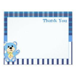 Blue Bear with Plaid Thank You