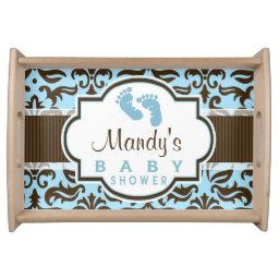 Blue & Brown Damask Baby Shower Serving Tray
