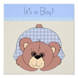 Blue Brown Teddy Bear Baby Boy Shower