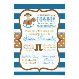 Blue Cowboy Baby Boy Shower  Striped