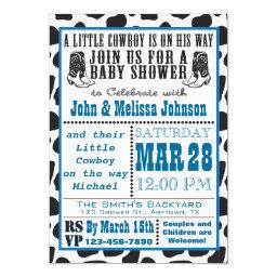 Blue Cowboy Cowprint Baby Shower