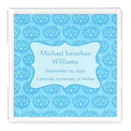 Blue Damask Baby Boy Name Personalized Acrylic Tray