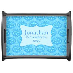 Blue Damask Baby Boy Name Personalized Birth Date Serving Tray