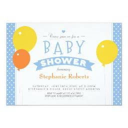 Blue Dotted  Photo Invite with Balloons