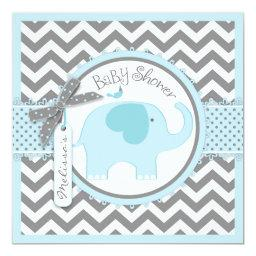Blue Elephant and Chevron Print Baby Shower