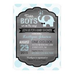 Blue Elephant with Bow-tie Baby Shower