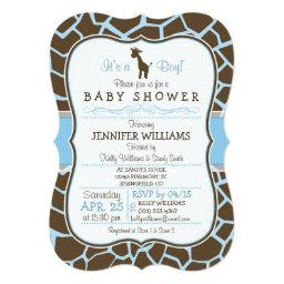 Blue Giraffe Print Boy Baby Shower