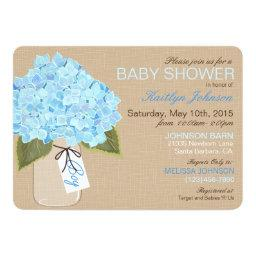 Blue Hydrangea Mason Jar Rustic Baby Shower