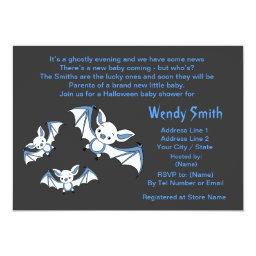 Blue Little Bat  Invitation
