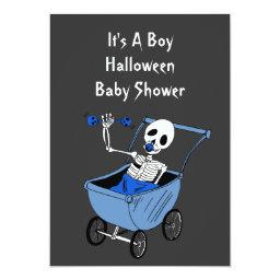 Blue Little Skeleton Baby Shower Invitation