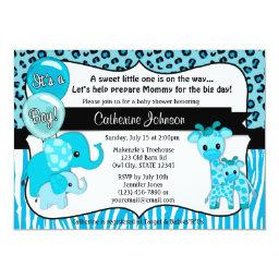 Blue Safari Elephant Giraffe Baby Shower