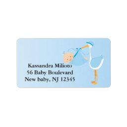 Blue Special Delivery Stork Address Label