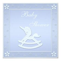 Blue Unicorn Rocking Horse Baby Boy Shower