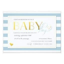 Blue & White Stripe Baby Boy Shower Gold Accents