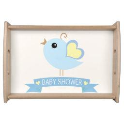 Blue & Yellow Bird Baby Shower Serving Tray