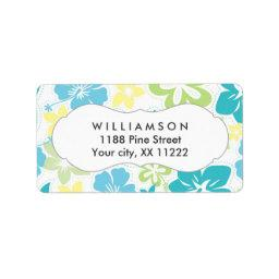 blue yellow green hibiscus hawaiian tropical favor label