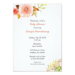 Blush Pink Coral Floral  Invites