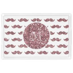 Blush Pink Glitter Mustache Pattern Your Monogram Acrylic Tray
