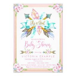 Boho Arrow Feather Girl Baby Shower