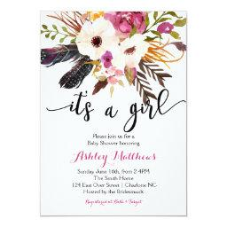 Boho arrows feathers Floral Baby Shower