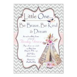 Boho Baby Girl Shower , Tribal Invite