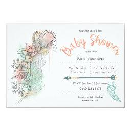 Boho  floral feather hand drawn invites