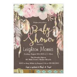 Boho  Invitation, Tribal Feather Rustic