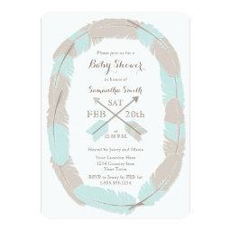 Boho Feather and Arrow Blue Baby Shower