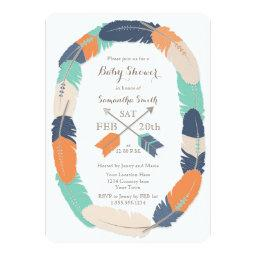 Boho Feather & Arrow Navy Orange Teal Baby Shower