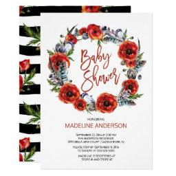 Boho Feathers Poppy Floral Fall