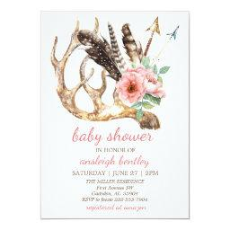 Boho Floral and Antler Baby Shower