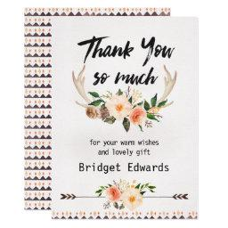 Boho Floral Antlers Baby Shower Thank You