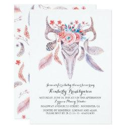 Boho Floral Watercolor Skull Baby Shower