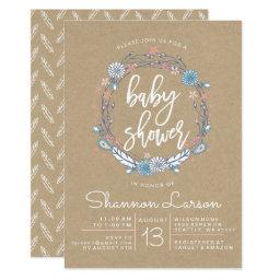 Boho Floral Wreath Baby Shower