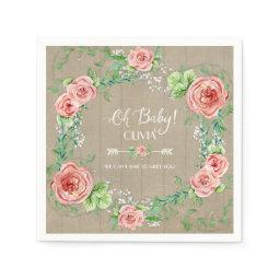 BOHO Oh Baby Girl Shower Arrow Flower Crown Wood Napkin