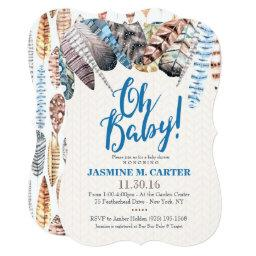 Boho Tribal Feathers Watercolor   Baby Shower Boy