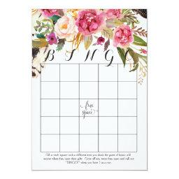 boho watercolor flowers Shower Bingo
