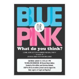 Bold Blue or Pink Baby Gender Reveal Party Invitations